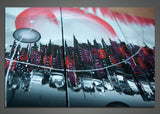 Red Architecture Painting Canvas 1016 - 63x33in