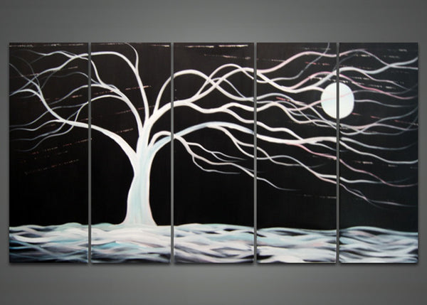 Abstract Black Tree Canvas Painting 1023 - 60x32in