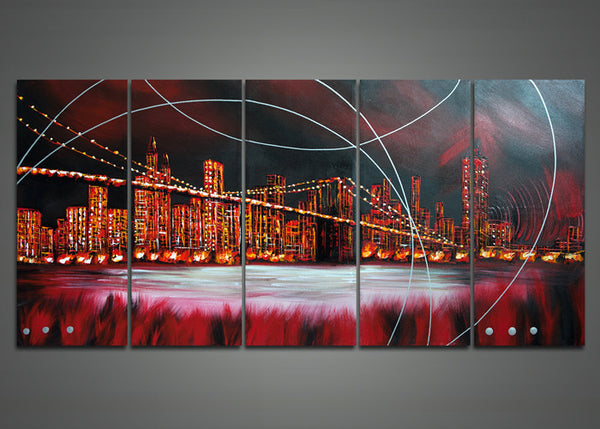 Modern Red Architecture painting 1042 - 60x32in