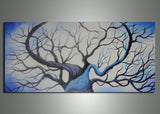 Small Blue Love Tree Painting 219s - 32x16in