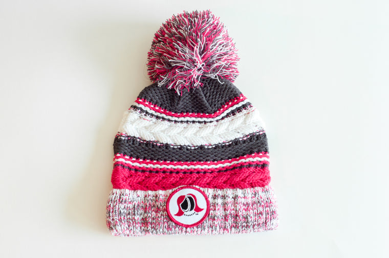Pink Striped Pom Pom Hat