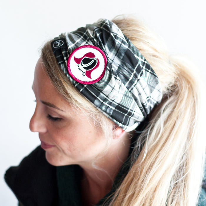 Hockey Mommy Black and White Plaid Beanie and Face Cover
