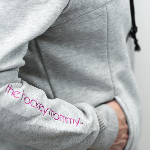 The Hockey Mommy Gray Collared Sweatshirt with Pull String