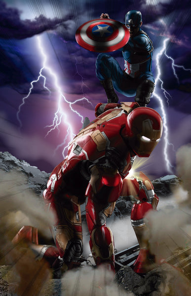 Cap America vs Iron Men Print