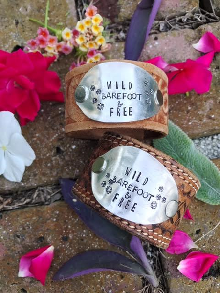 Wild Barefoot & Free Tooled Leather Cuff - The Dove Cote