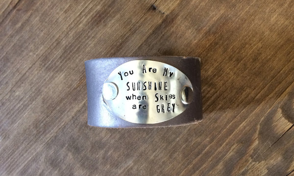 You Are My Sunshine Leather Cuff - The Dove Cote