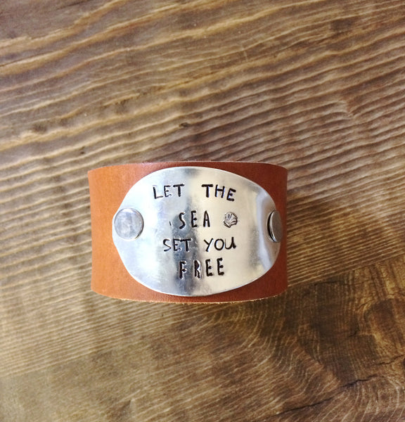 Let the Sea Set You Free  Leather Cuff - The Dove Cote