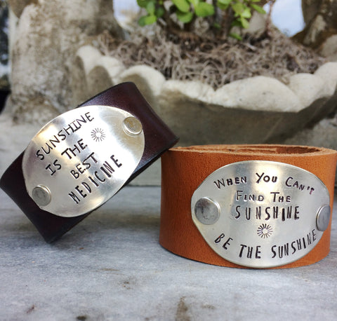 Be the Sunshine Leather Cuff - The Dove Cote