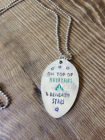 Mountains & Stars Hand Stamped Necklace - The Dove Cote