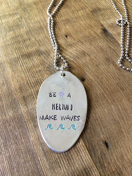 Be a Mermaid Stamped Necklace - The Dove Cote