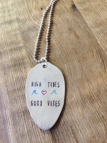 High Tides Good Vibes Hand Stamped Necklace - The Dove Cote