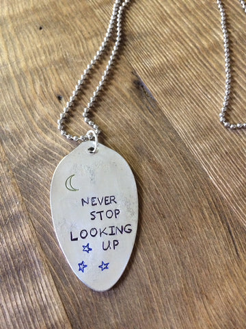 Looking Up Hand Stamped Necklace - The Dove Cote