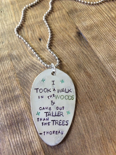 Walk in the Woods Hand Stamped Necklace - The Dove Cote