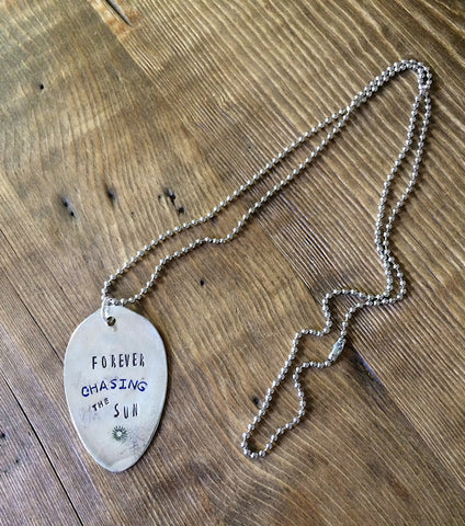 Forever Chasing the Sun Hand Stamped Necklace - The Dove Cote