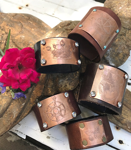 Etched Copper Butterfly Cuff