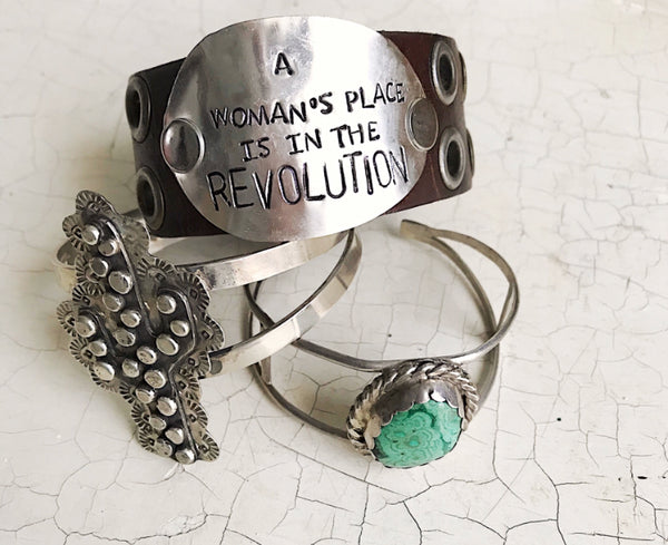 A Woman's Place is in the Revolution Leather Cuff - The Dove Cote