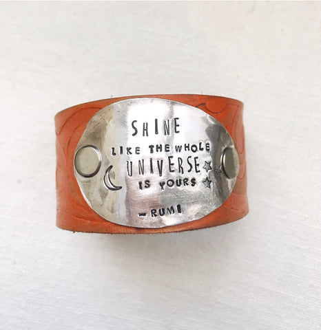 Shine Like the Universe Orange Leather Cuff - The Dove Cote