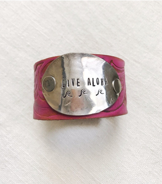 Live Aloha Pink Tooled Leather Cuff - The Dove Cote