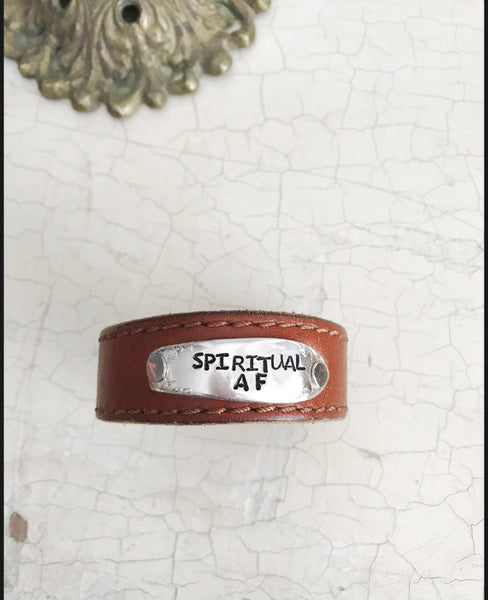 Spiritual AF Brown Leather Skinnies Cuff - The Dove Cote