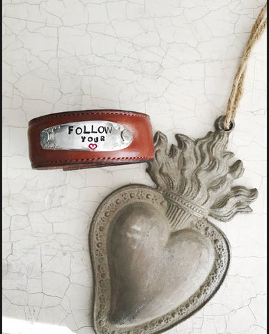 Follow Your Heart Skinnies Brown Leather Cuff - The Dove Cote
