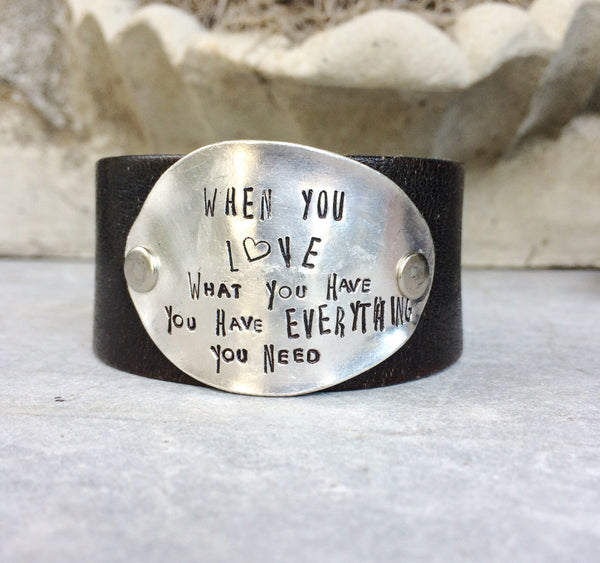 Love is Everything Leather Cuff - The Dove Cote