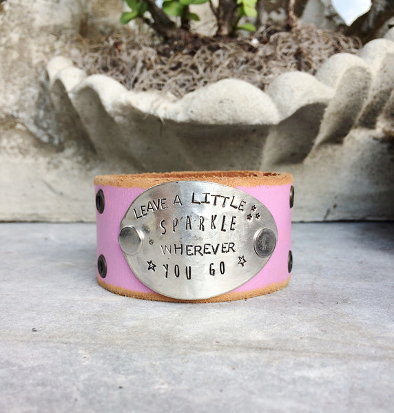 Leave a Little Sparkle Pink Leather Cuff - The Dove Cote