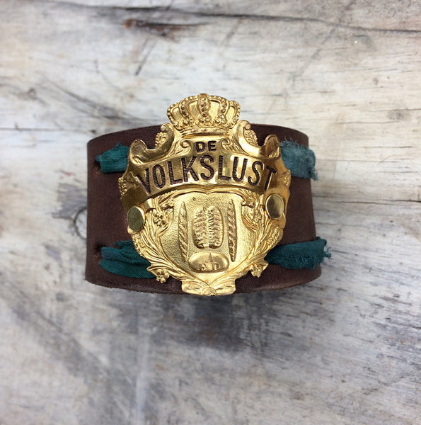 Volkslust Emerald Green Leather Cuff - The Dove Cote