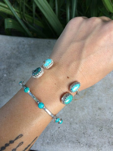 Sterling Silver & Turquoise Multi Stone Bangle - The Dove Cote