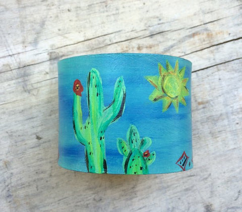 Cactus Blue Painted Leather Cuff - The Dove Cote