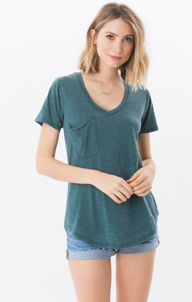Pocket Tee in Deep Jungle - The Dove Cote