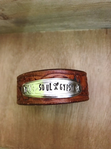 Skinnies Soul of a Gypsy Vintage Tooled Leather Cuff