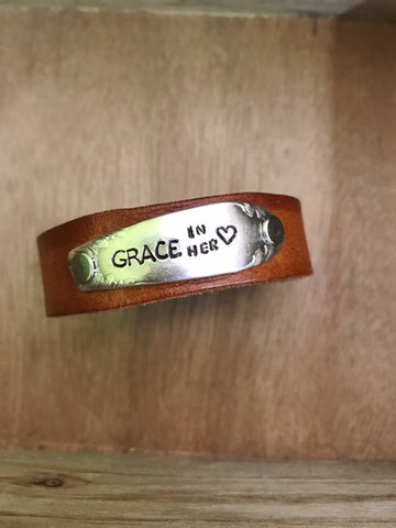 Skinnies Grace in Her Heart Brown Leather Cuff