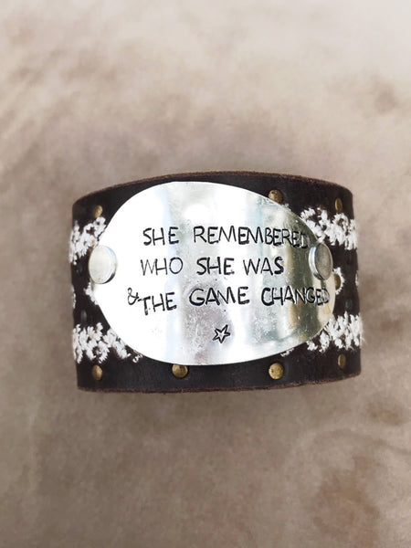 She Remebered Embroidered Leather Cuff