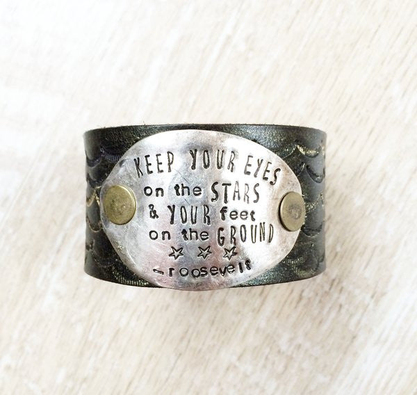 Eyes on the Stars Black and Gold Metallic Leather Cuff - The Dove Cote
