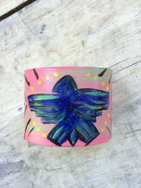 Thunderbird Painted Leather Cuff - The Dove Cote
