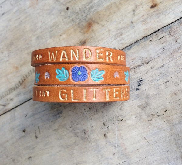 Not All Who Wander Layered Leather Cuff - The Dove Cote