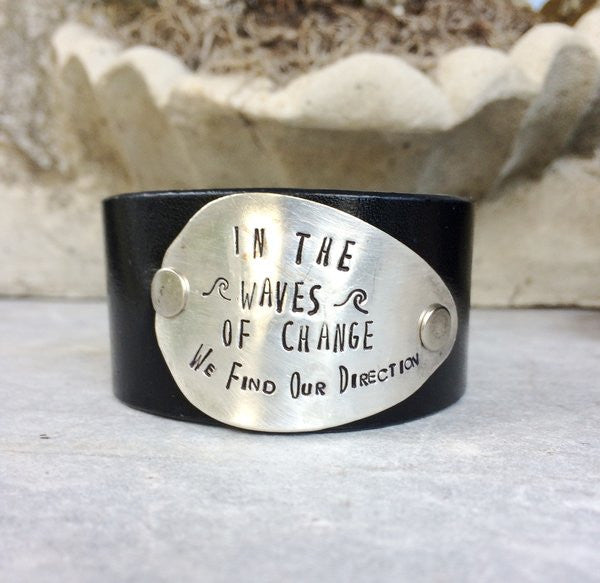 In the Waves of Change Leather Cuff - The Dove Cote