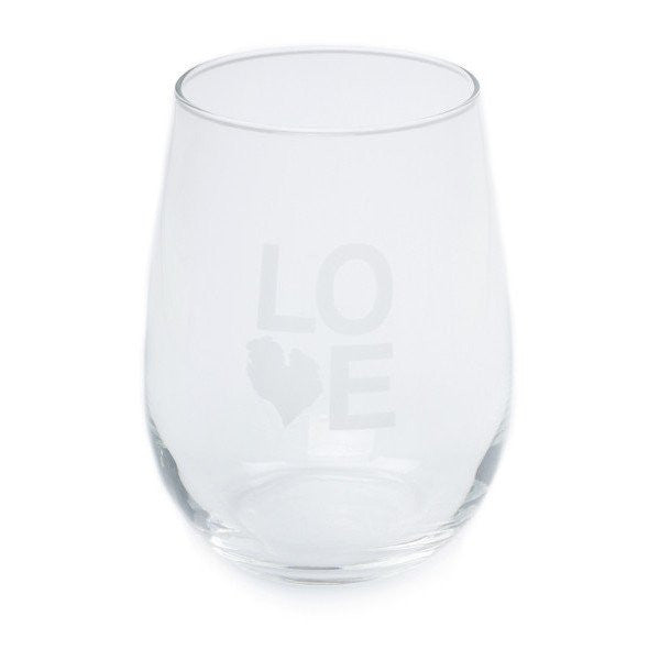 LOVE STEMLESS WINE GLASS SET OF FOUR