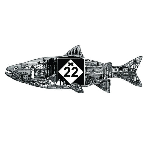 M22 FISH LINE ART STICKER