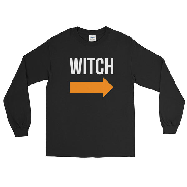 I'm With the Witch - Halloween Costumes Long Sleeve T-Shirt - Funny Tee (dark colors)