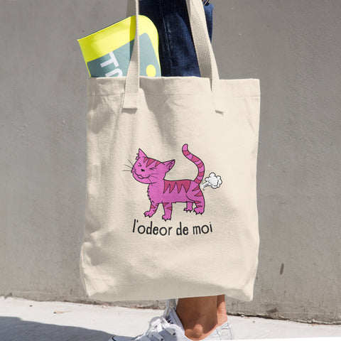 L'odeor de moi -  Funny Cat Tote Bag - Fashion Cats
