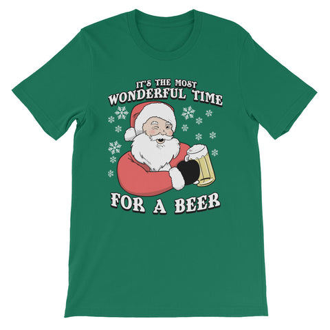 It's the Most Wonderful Time for a Beer - Unisex/Men's T Shirt -   Funny Santa Christmas Tee