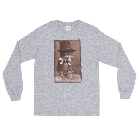 Top Hat Cat -  Long Sleeve T-Shirt -  Vintage Retro Cat Tee
