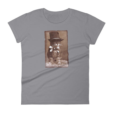Top Hat Cat -  Women's T-Shirt -  Vintage Retro Cat Tee