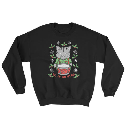Little Drummer Cat Sweatshirt - Cute Christmas Cats