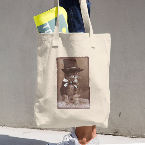 Top Hat Cat -  Tote Bag  -  Vintage Retro Cats