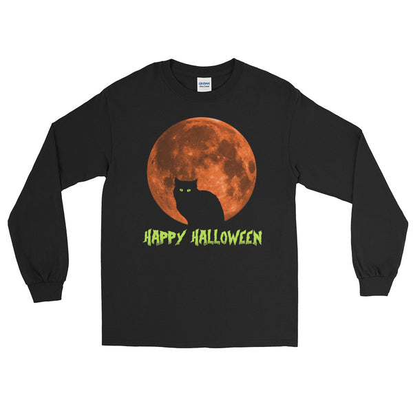 Happy Halloween Cat - Costumes Long Sleeve T-Shirt - Funny Scary Cats Tee