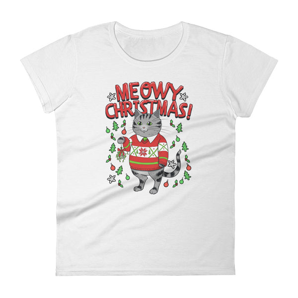 Meowy Christmas Cat - Women's T-Shirt - Cute Cats Tee