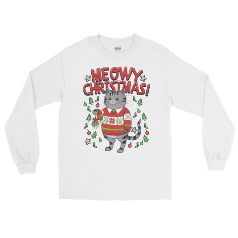 Meowy Christmas Cat - Long Sleeve T-Shirt - Cute Cats Tee