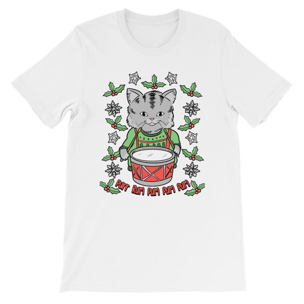 Little Drummer Cat - Unisex/Men's T-Shirt  - Cute Christmas Cats Tee